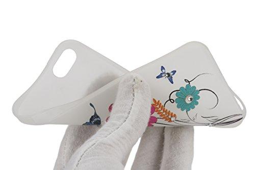 Apple iPhone SE/5S/5 Case Silicone - Felfy Ultrathin Slim Soft Gel Mode Silicone Lichtdurchlässig TPU Peinture Rose Motif Fleur de Diamant de Bling Glitter étincelle Strass Cristal Creative design écl #30