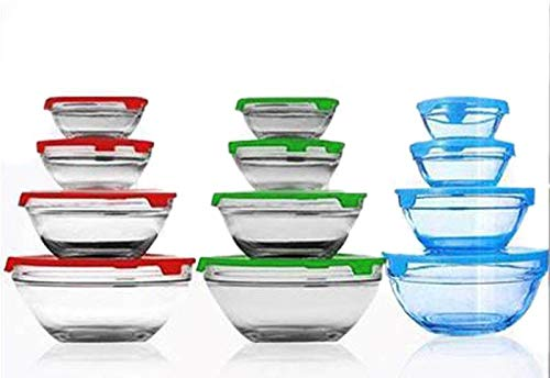 DUCATI 4 PCS Bowl Set for Storing,Serving,Microwave Safe - 100 ml, 300 ml, 400 ml, 800 ml Glass Fridge Container, Utility Box (Free Shipping)(Assorted-Available Color Will be Send)