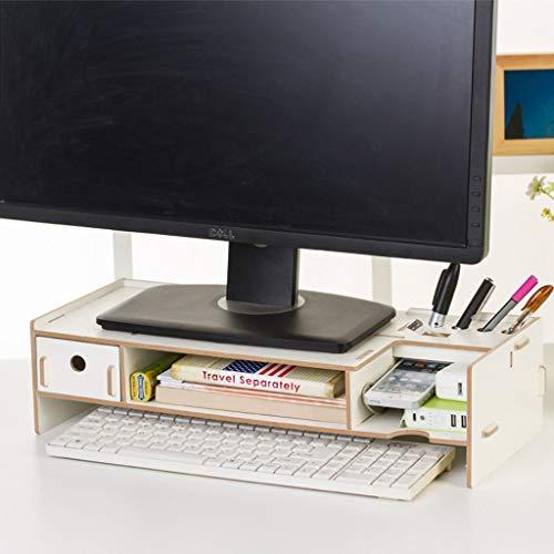 HKPLDE Monitorständer/Holz Ergonomisches/Für Heim und Büro/mit Stauraum Bildschirmständer Bildschirm-Eiche -