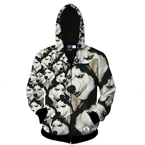 XYL HOME Hoodie,Männer und Frauen realistische 3D-Druck Husky Reißverschluss Kapuzen Sweatshirt Hoodie große Tasche, S