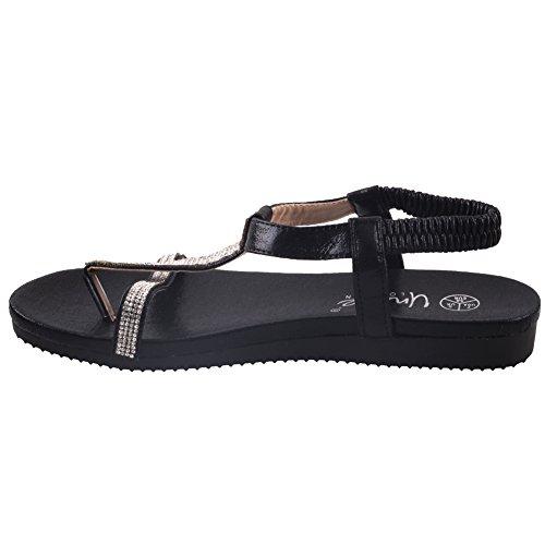 Unze Femmes Turfi 'Flat Agrémentée Summer Sandals Noir