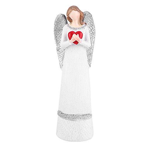 Hilitand 20 cm Harz Weiße Schönheit Frauen Skulptur Statue Figur Schreibtisch Ornament Handgemalte Engel Figur(Herz) -