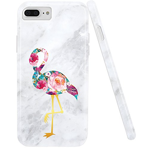 iPhone 7Plus Fall, iPhone 8Plus Fall, doujiaz Marmor Design Transparent Bumper TPU Soft Case Gummi Silikon Haut Cover Für iPhone 7Plus (2016)/iPhone 8Plus (2017), Pink Flamingo Pink Gummi Case