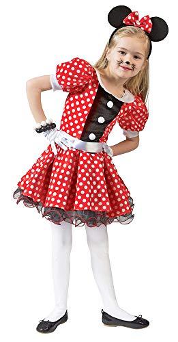 Kostüm Mäuschen Lulu Kind Größe 104 Kinderkostüm Maus Mädchen Rot Weiß Gepunktet Kleid Karneval Fasching Pierros