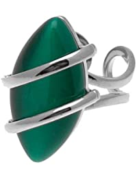 Acosta - Vibrant gala de color verde esmeralda piedra ojo de gato - diseño con texto diseñado Fashion anillo (tono plateado) - caja de regalo