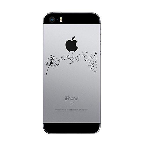Qissy® Cover iPhone 5 / 5S / SE Custodia Bumper Morbida Crystal Clear TPU Silicone disegno pittura vite fiore (iPhone 5 / 5S / SE, 2)