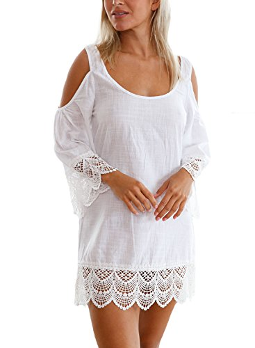 Aleumdr Damen Strandkleid Lacy Crochet Trim Crinkle Beachwear Minikleid Strandponcho Weiß