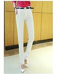 PU&PU Femme simple Taille Haute Micro-élastique Chino Pantalon,Mince Slim Couleur Pleine