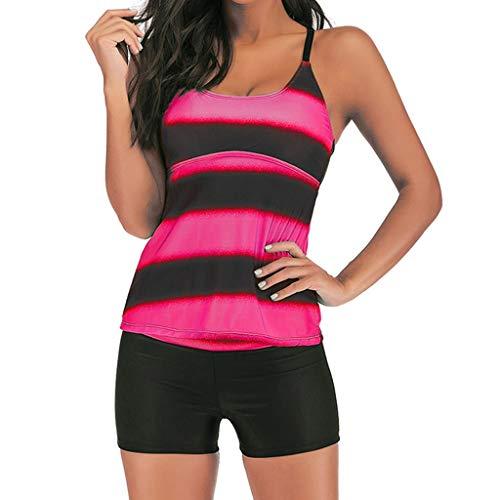 Yvelands Damen Tankini Set Plus Size Farbverlauf Tankini Bikini Bademode Badeanzug Badeanzug(Pink,XXXL)