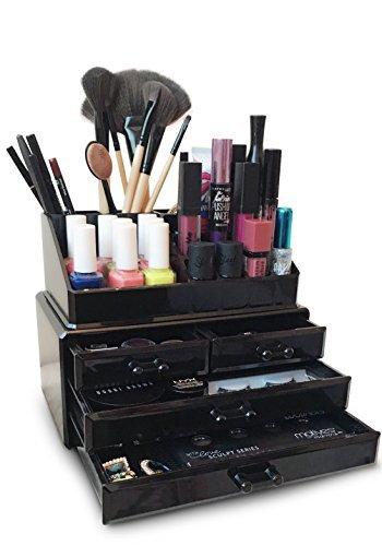 Oi labels tm acrilico nero make-up/cosmetico/gioielleria/smalto per unghie organizzatore espositore ( alta qualità 3mm acrilico) . scatola regalo