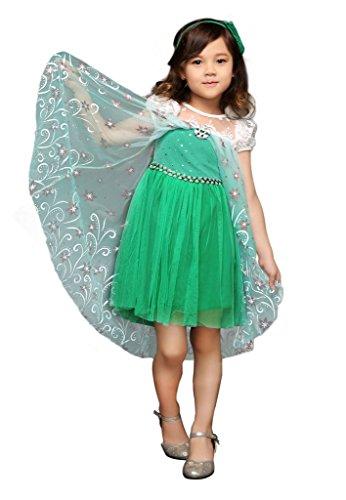 Kostüm Aktuellen Paar - Pettigirl Mädchen Prinzessin Eiskönigin Elsa Fantastisches Kleid Kostüm,130