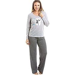 Conjunto de pijama largo - Estampado a rayas - Motivo oso polar - Gris y negro 38