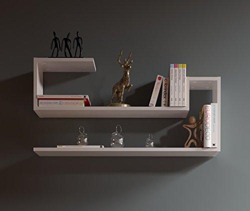 WAVE Étagère murale - Blanc - étagère à livres pour décoration de salon en bois dans un design moderne