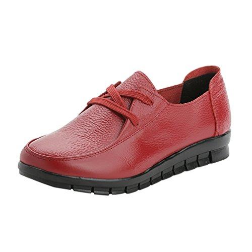 Yiiquan Donna Scarpe Pelle PU Sintetico Slip-on Fiocco Piatto Laccio Scarpe Casuale Scarpe Basse Rosso