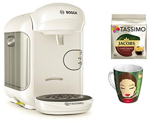 Bosch TASSIMO Vivy 2 Bundle + Ritzenhoff Sammelbecher 14. Edition + TDisc Caffe Crema classico (Weiss)