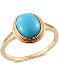 Sleeping Beauty Turquoise Solitaire Ring in 14K Gold Overlay Sterling Silver 3 Ct