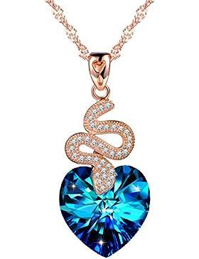 SIXLUO Schlange Herzanhänger 925 Sterling Silber Rosevergoldet Halskette Blau Kristall Zirkonia Kette Damen Mädchen