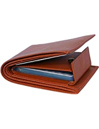 MS Collection Pure Leather Album Tan Men's Bi Fold Leather Wallet with Card Holder and Coin Pocket (Tan)