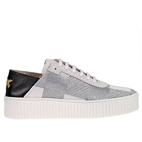 PINKO Ungherese 1H209G-Y39A ZI6 Sneaker donna in tessuto ricamato paillettes e pelle, Bianco, EUR 37