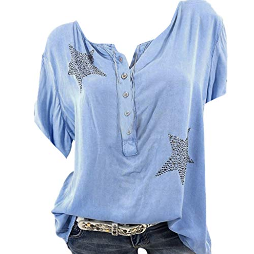 AIni Tops T Shirt Femme Pas Cher A La Mode ÉTé Bouton Col Rond Imprimé avec éToile à Cinq Branches Et Diamants Chauds Camisole Chemise Gilet VêTements(S,Bleu)