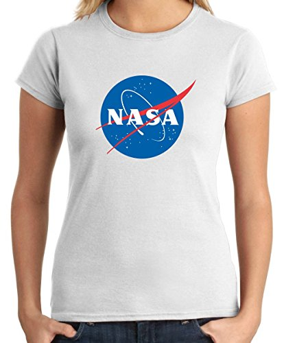 Cotton Island - T-shirt para las mujeres T0940 nasa militari, Talla M