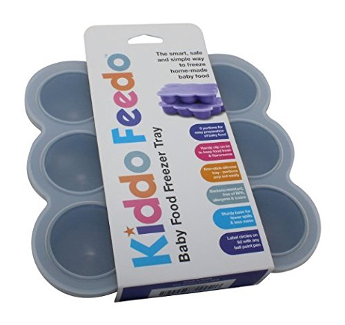 KIDDO FEEDO - Die multifunktionale Eiswürfelform mit Silikondeckel zum portionsweisen Einfrieren von Babynahrung, Kräutern, Saucen, Eiswürfeln usw. - BPA-frei - Gratis eBook - Lebenslange Garantie - Grau