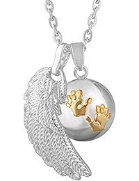 969dee265f Eudora Harmony Ball - Collana con ciondolo chiama angeli con mani di bimbo  e ala di