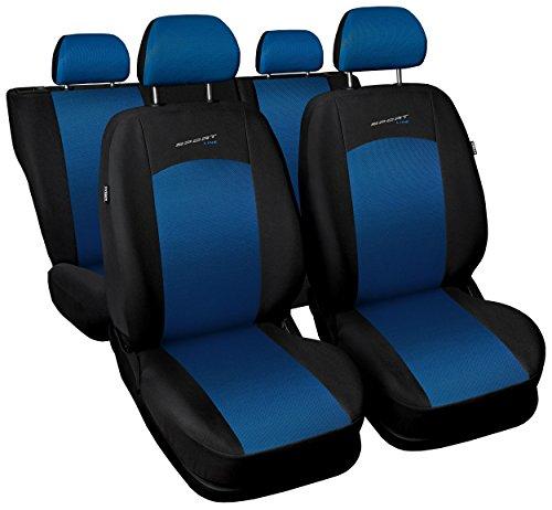 Carpendo Sitzbezüge Auto Set Autositzbezüge Schonbezüge Schwarz-Blau Vordersitze und Rücksitze mit Airbag System - Sportline