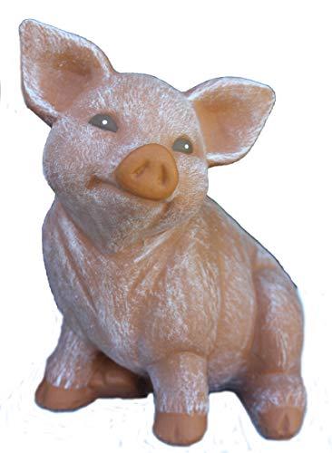 Steinfigur Schwein, 127 Ferkel, Gartenfigur Steinguss Tierfigur Terrakotta Patina