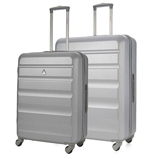 Aerolite Leichtgewicht ABS Hartschale 4 Rollen Trolley Koffer Reisekoffer Hartschalenkoffer Rollkoffer Gepäck, 69cm + 79cm, Silber