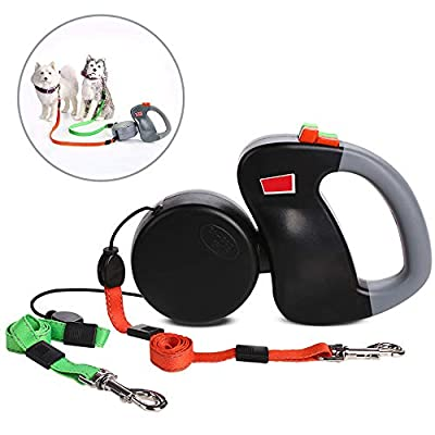 Galaxer Dual Dog Leash Heavy Duty Climbing Rope Material Double Dog Lead Splitter with Tangle Free Swivel for Walking 2 Dogs Comfortable Foam Handle Unique 2-in-1 Design from Galaxer