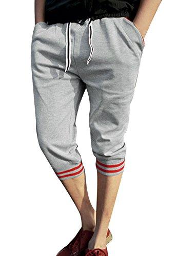 Corsaire Homme poches Pantalon élastique avec cordon de serrage réglable Gris - Gris