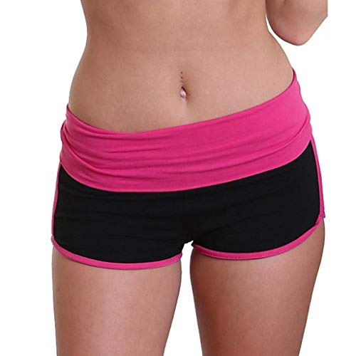 Cwemimifa Running Gym Yoga Der Sporthosen Schlafanzughosen Destroyed Ripped High Waist, Frauen Yoga Sport Laufhose Cropped Leggings Kurze Hose Stretch Hose, Hot Rosa, 2XL (Baumwolle Volleyball Spandex Shorts)