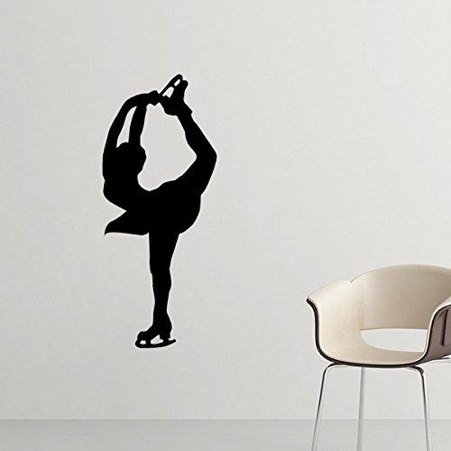 DIYthinker Wall Deporte De Invierno Mujer Patinaje Artístico Silueta De La Silueta Etiqueta Engomada Desprendible De Arte Mural Calcomanías De Bricolaje Fondo De Pantalla para La Sala De Decal