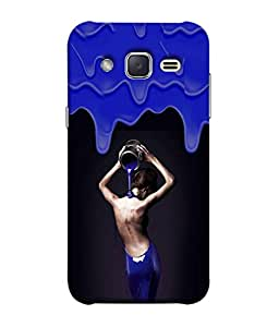 PrintVisa Designer Back Case Cover for Samsung Galaxy J2 (Girl covered with blue paint)