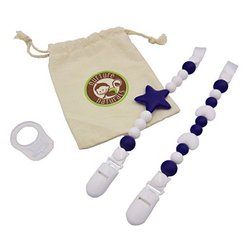 Preisvergleich Produktbild Mädchen / Jungen Schnullerkette - ( 2er Pack) Schnullerhalter aus Silikon - Lustige, farbige und BPA - freie Silikonring Adapter (Blau Set)
