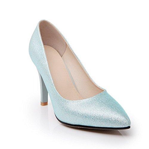 VogueZone009 Femme Fermeture D'Orteil Pointu Tire Matière Mélangee Stylet Chaussures Légeres Bleu Clair