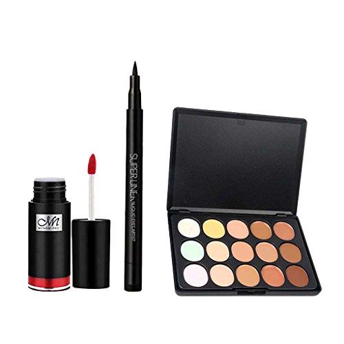 MagiDeal Palett de Correcteur Illuminateur Anticernes de 15 Couleurs + Stylo Eyeliner Noir Liquide + Lip Gloss Rouge Hydratant