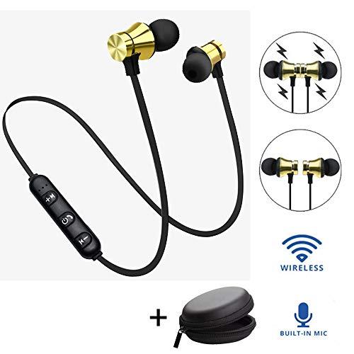 Bescita Bluetooth Sport in-Ear Kopfhörer, V4.2 IPX5 Schweißresistent Stereo magnetischer Sport Ohrhörer mit 10 Meter Reichweite, eingebautes Mikrofon für iPhone, Huawei und Samsung (Gold)