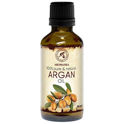 Argan Öl 50ml - 100{ad3ae59e4cf60c1aca7a349b8d3b443619ae03833fea6530f05d6b7ffee58fcd} Natürliche & Reine Arganöl - Argania Spinosa Argan Oil - Marokko - Kaltgepresst & Desodoriert - Aus Kontrolliert Biologischem Anbau (Kba) - Besten Haaröl - Arganöl für Gesicht - Haar - Haut - Glasflasche