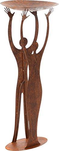 """DEWOGA Rost """"Skulptur doppelt mit Schale"""" 96x40cm Edelrost Metall Garten Mensch"""