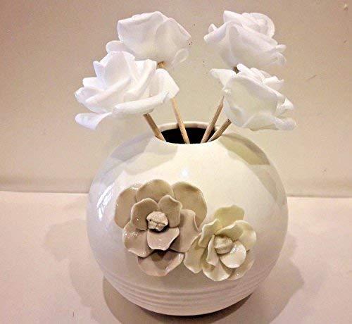 Bomboniere battesimo matrimonio comunione profumatore porcellana con scatola e 4 fiori