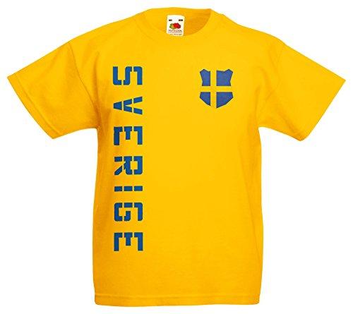 Schweden Sverige Kinder EM 2016 T-Shirt Trikot Name Nummer (Gelb, 164)