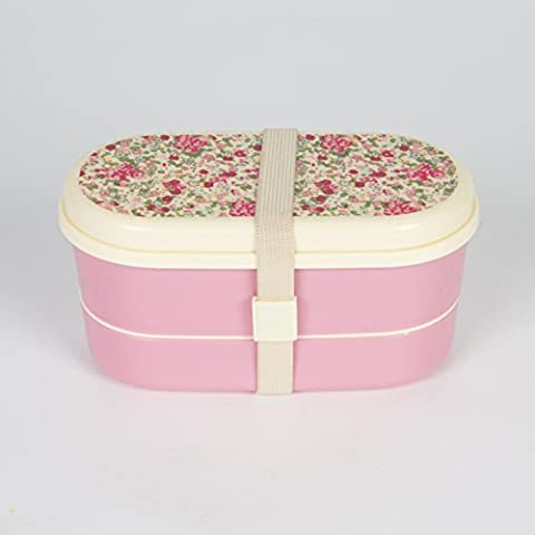 Box Brotzeit Dose Rosen beige rosa 9-teilig 16x9cm