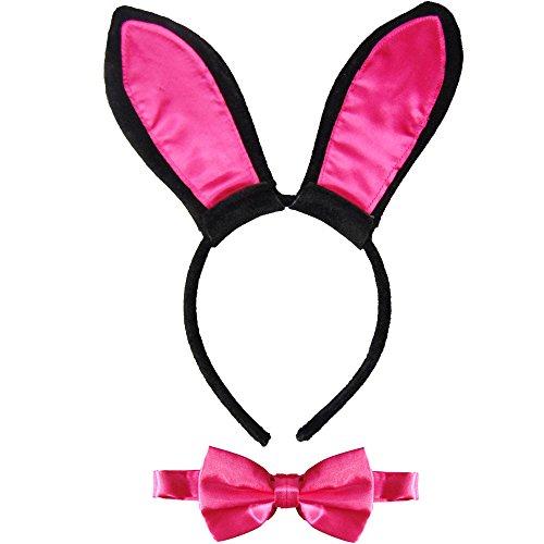 Partybob Sexy Bunny Kostüm Set - Ohren + Fliege (Schwarz-Pink) (Bunny Ohren Kostüme)