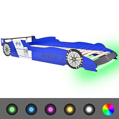 vidaXL Kinderbett mit LED Rennwagen-Design 90x200 cm Blau Autobett Jugendbett
