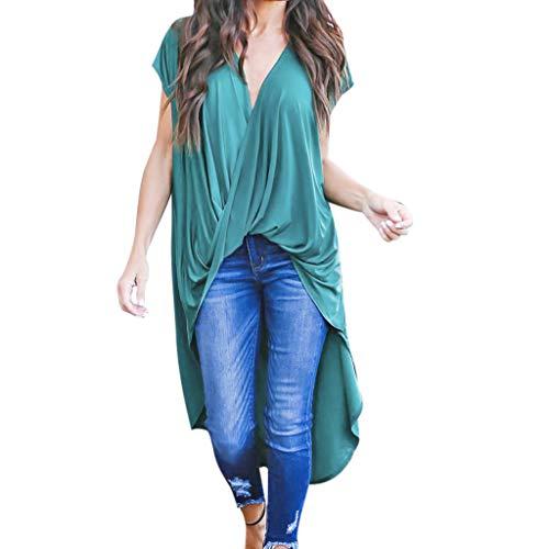 Asymmetrische Tops Damen, Damenmode Shirt, Reine Farbe Kurzarm Chiffon Lange Bluse, unregelmäßige Sommerhemden