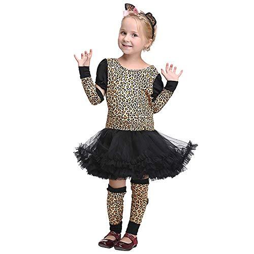 OwlFay Mädchen Süß Halloween Kostüm Tiger Kleid mit Kopfbedeckung Handschuhe Beinwärmer Deluxe 4pcs Outfit 8-9 (Deluxe Weiße Tiger Kinder Kostüm)
