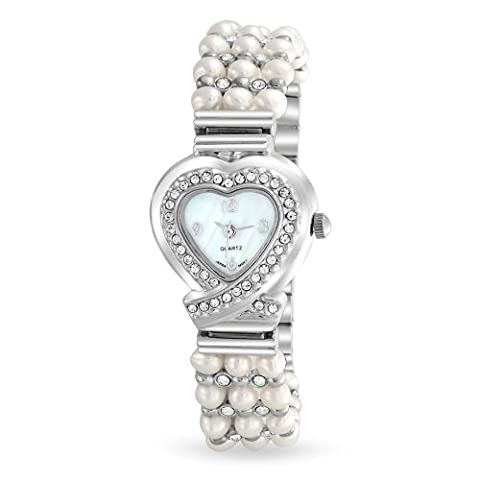 Womens Crystal 3 Row Freshwater Cultured Pearl Heart Stainless Steel Back Watch