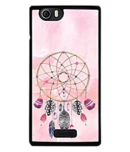 PrintVisa Designer Back Case Cover for Micromax Canvas Nitro 2 E311 (golden flower circle with feathers and diamonds)